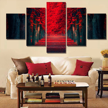 5 Piece Wall Art Beautiful Red Forest Modern Wall Painting On Canvas Prints Tree Landscape Painting For Living Room Decoration