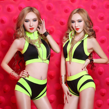 Fashion Ds Costume Sexy Dj Twirled Neon Color Jazz Dance Leotard Costume