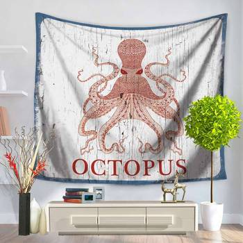 Home Decorative Wall Hanging Carpet Tapestry 130x150cm Rectangle Bedspread Whale Octopus Turtles Hippocampus Pattern GT1126