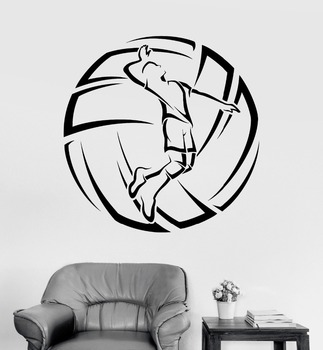 Vinyl Wall Decal Volleyball Player Ball Sport Stickers Mural